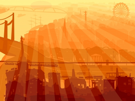 cartoon building: Vector abstract background of big city with roofs, bridge and rays of sun through buildings. Illustration