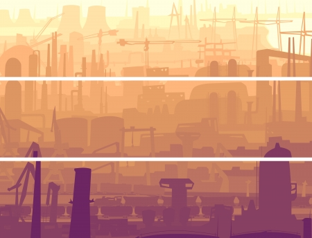 construction plant: Vector abstract horizontal banner: industrial part of city with mills, factories, chimneys in the morning. Illustration
