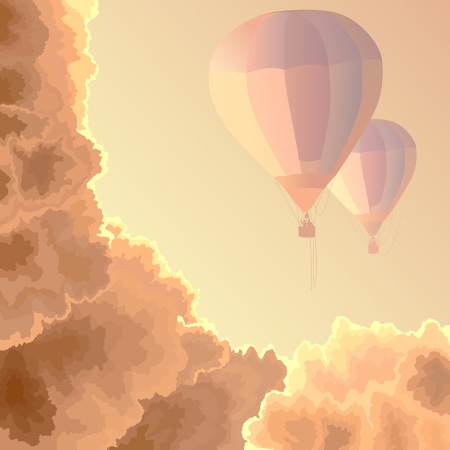ballooning: Vector square illustration: two air balloons among clouds in the morning.