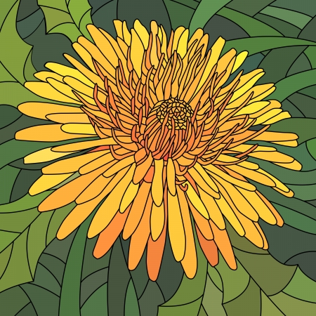 Vector mosaic with large cells of orange dandelion on green. Vector