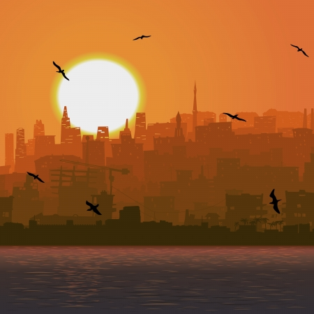 Vector square illustration: city by the sea with cost and bird at sunset.