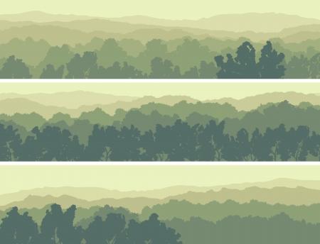 光の緑のトーンの落葉性の木の丘の水平方向の抽象的なバナー。