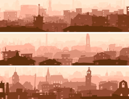 abstract horizontal banner of big city roofs and windows of buildings in downtown. Vector