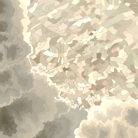 birds eye view:  cartoon illustration:view on the ground through clouds with birds eye view.