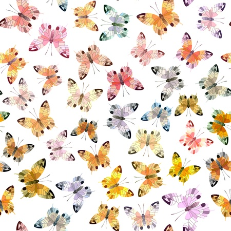 Seamless background of many colorful butterflies on white. Stock Vector - 18022751