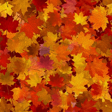 autumn background: a lot of maple autumn leaves on the ground. Illustration