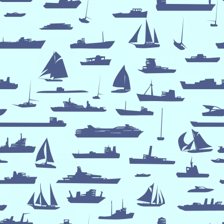 abstract seamless background with many ships in sea. Illustration