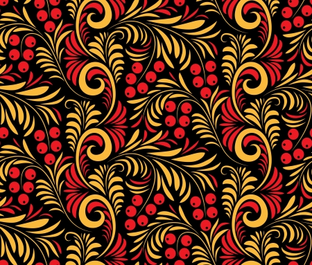 Seamless floral background of traditional Russian folk art painting (hohloma). Stock Vector - 18149263