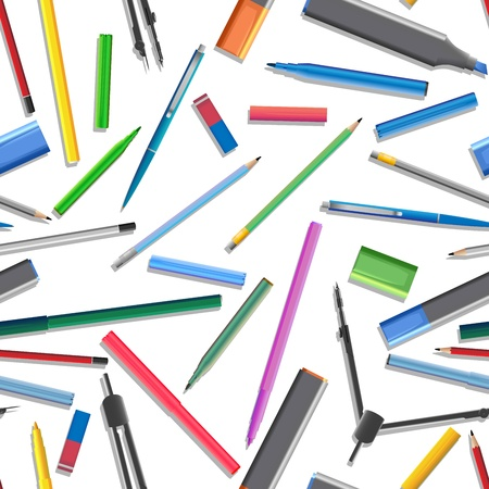 Seamless background of different pencil ( and felt-tip pen). Vector