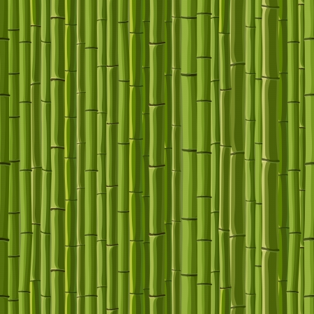 Seamless cartoon background of green wall from bamboo. Vector