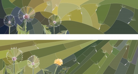 Vector abstract horizontal banner with mosaic of group of dandelion on green.