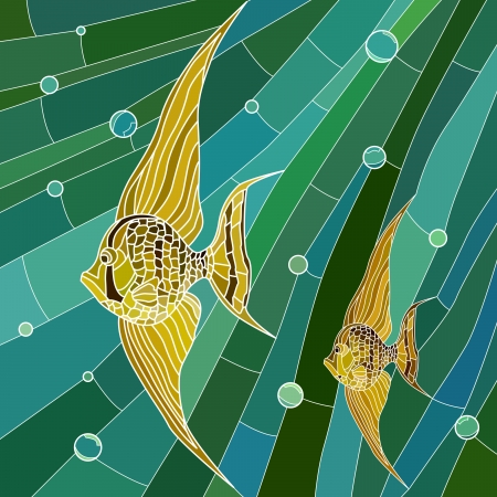 Vector mosaic with large cells of yellow fish with long fins in green water with bubbles.