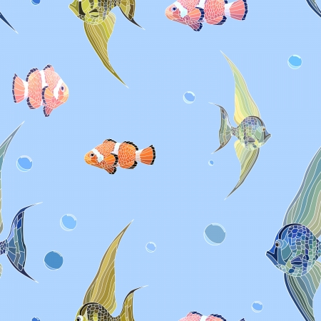 Seamless background of fishs with long fins and clown fish in water with bubbles. Vector