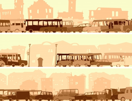 rush hour: abstract horizontal cartoon banner with many cars in traffic at rush hour street.