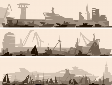 abstract horizontal cartoon banner of big harbor with many different ships. Vector