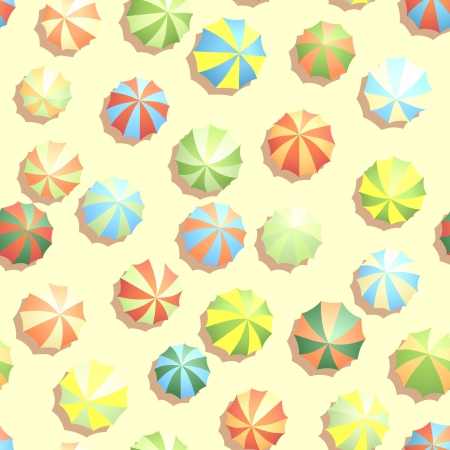 plage: Seamless background of top view of many colourful umbrellas on beach. Illustration
