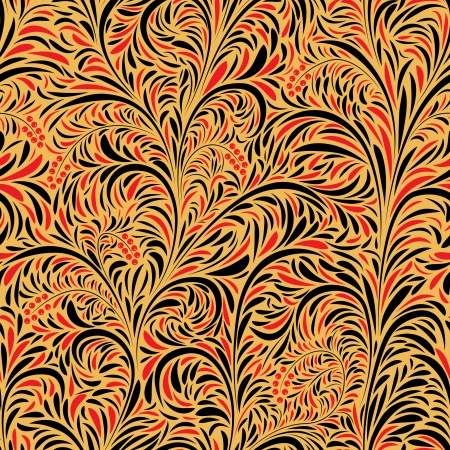 Seamless floral background of traditional Russian folk art painting (hohloma). Vector