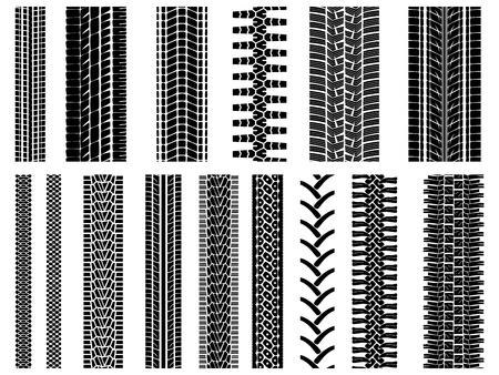 Conjunto de patrones vector llanta y rueda (para los cepillos). Ilustración de vector