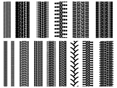 huellas de neumaticos: Conjunto de patrones vector llanta y rueda (para los cepillos). Vectores