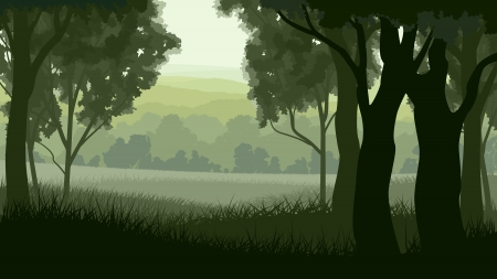 illustration of tree trunks within wood with grass on edge of forest in green tone. Ilustrace