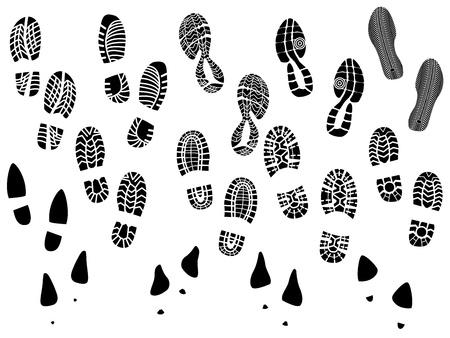escarpines: Conjunto de impresiones ilustración vectorial siluetas de zapatos (único). Vectores