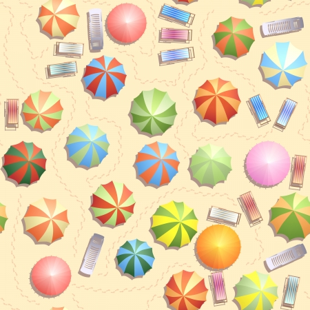 Seamless background of top view of many umbrellas and deck chair (sunbed),footprints on beach. Vector