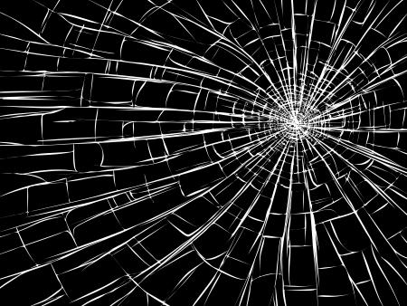 vetro rotto: crepe radiali su vetri rotti (come i danni da proiettili).
