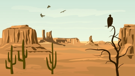 cactus desert: Horizontal cartoon illustration of prairie wild west with cacti and birds of prey