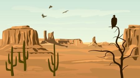 Ilustración de dibujos animados horizontal de pradera salvaje oeste con cactus y aves rapaces