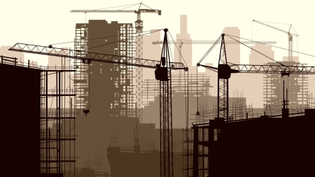 construction machinery: Horizontal illustration of construction site with cranes and building under construction.