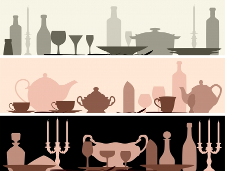 dinnerware: Horizontal banner: silhouettes set table with serving utensils. Illustration