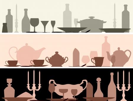 Horizontale banner: silhouetten set tafel met servieswerk.