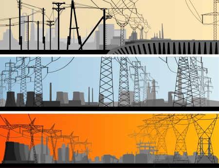 electricity post: abstract horizontal banner: industrial part of city with high voltage electric transmission line tower.