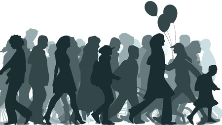 Horizontal illustration crowd of unknown people coming. Векторная Иллюстрация