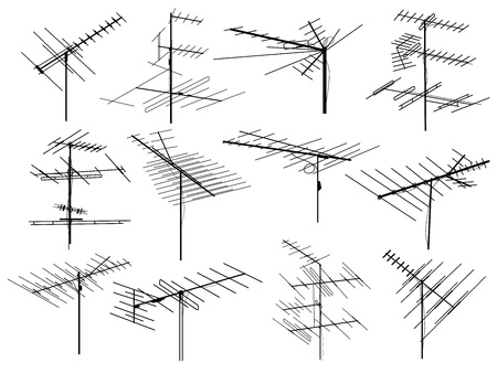 aerials: Set of silhouettes of different television aerials (antenna). Illustration