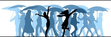 población: Ilustración vectorial Horizontal muchedumbre de gente desconocida que viene en la lluvia con paraguas.