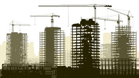 Horizontale vector illustratie van de bouwplaats met kranen en wolkenkrabber in aanbouw. Stock Illustratie