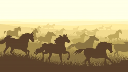 Horizontal vector illustration: silhouette herd of horses galloping across the meadows.