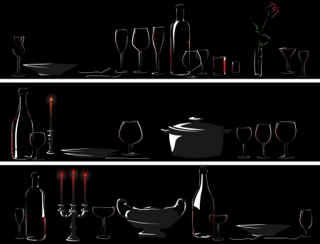 candlelight: Horizontal banner: silhouettes set table with serving utensils (dinner by candlelight).