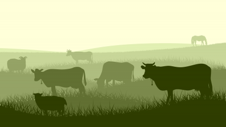 Horizontal illustration silhouettes of grazing animals (cow, horse, sheep) in the meadows.