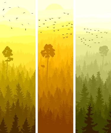 노란색과 오렌지 톤의 민속 조류와 침엽수 나무 언덕의 수직 추상 배너. 일러스트