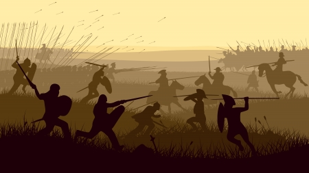 Horizontal vector illustration of battle fighting swordsmen, spearmen and cavalry in the battle field. Ilustração