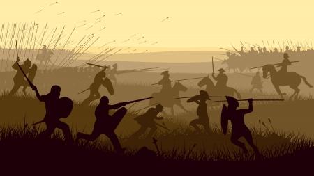 Orizzontale illustrazione vettoriale di battaglia spadaccini combattimenti, lancieri e cavalleria nel campo di battaglia. Vettoriali