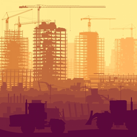 auto hoist: Horizontal illustration of construction site with cranes and skyscraper under construction with tractors, bulldozers, excavators and grader. Illustration