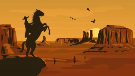 wildwest: Orizzontale fumetto illustrazione della prateria selvaggio west con cactus e eroe delle foglie selvaggio West in declino.