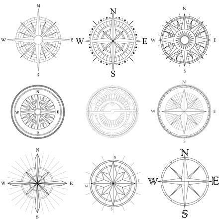 Set illustratie van abstracte artistieke tekeningen kompas voor gebiedskaart
