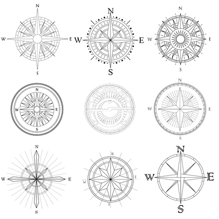 Set illustration of abstract artistic drawings compass for area map