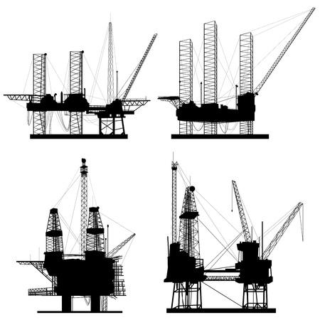 yacimiento petrolero: Siluetas de la plataforma de perforación mar adentro de petróleo.
