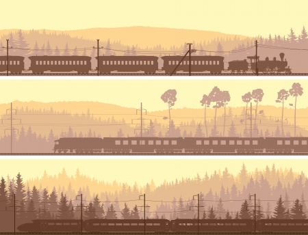 train cartoon: Horizontal abstract banners: locomotive and the high speed train on background hills of coniferous wood. Illustration