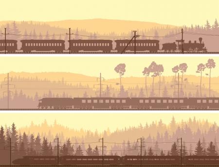 Poziome abstrakcyjne transparenty: lokomotywa i wysoka prędkość pociągu na tle wzgórza drewna iglastego. Ilustracje wektorowe